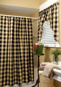 Click To Enlarge Black Tan Shower Curtain